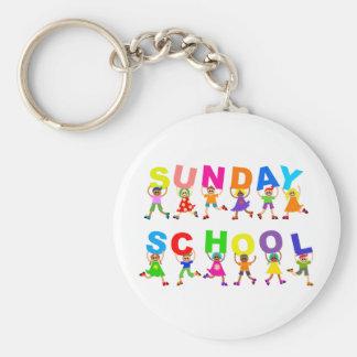 Sunday School Basic Round Button Key Ring