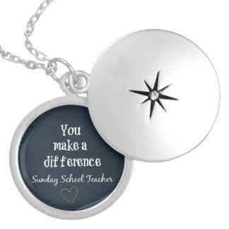 Sunday School Teacher Round Locket Necklace