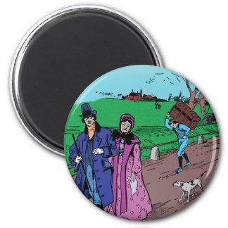 Sunday Stroll 6 Cm Round Magnet