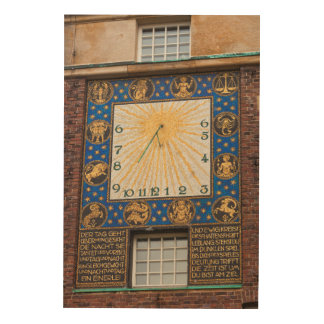 Sundial Clock On Building, Germany Wood Wall Decor