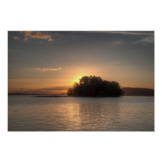Sundown and island poster