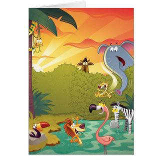 Sundown At The Water Hole Card