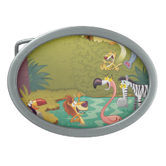 Sundown At The Water Hole Oval Belt Buckles