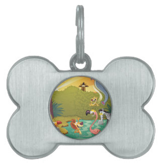 Sundown At The Water Hole Pet ID Tag