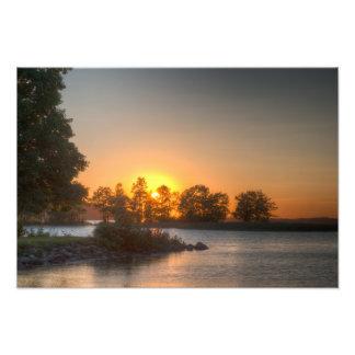 Sundown over an lake photo art