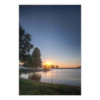 Sundown over an lake photo print
