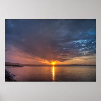Sundown over an lake poster
