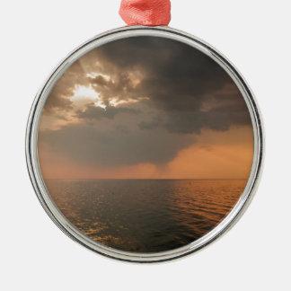 Sundown over Trieste Bay Silver-Colored Round Decoration