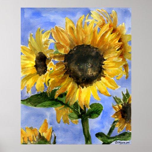 Sunflower 01 Watercolor Paintings Art Print