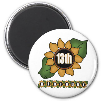 Sunflower 13th Birthday Gifts Magnets