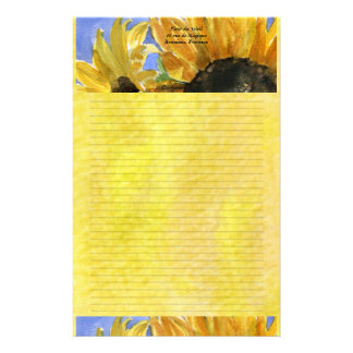 Sunflower 1 Watercolor Personalized Stationary Stationery