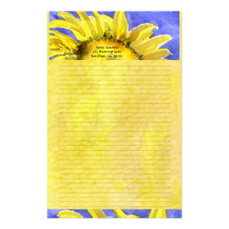 Sunflower 2 Watercolor Personalized Stationary Stationery