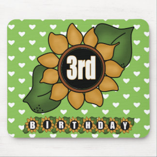 Sunflower 3rd Birthday Gifts Mouse Mat