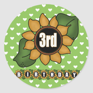 Sunflower 3rd Birthday Gifts Round Sticker
