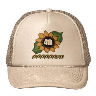 Sunflower 4th Birthday Gifts Cap