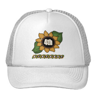Sunflower 4th Birthday Gifts Cap