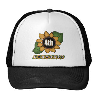 Sunflower 4th Birthday Gifts Hats