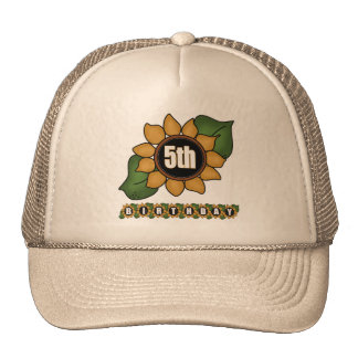 Sunflower 5th Birthday Gifts Cap