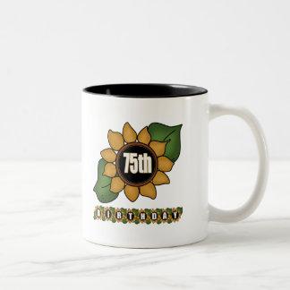 Sunflower 75th Birthday Gifts Two-Tone Mug