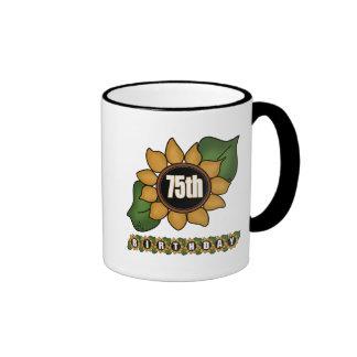 Sunflower 75th Birthday Gifts Mugs