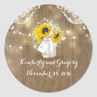 Sunflower and Baby's Breath Rustic Mason Jar Round Sticker