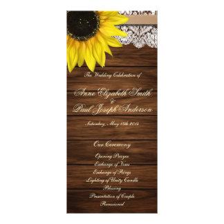Sunflower and barn wood Wedding Program Rack Card