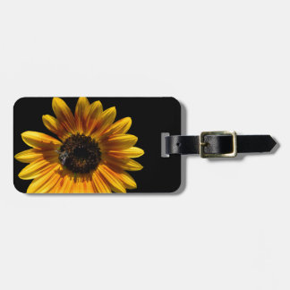 Sunflower and bee luggage tag