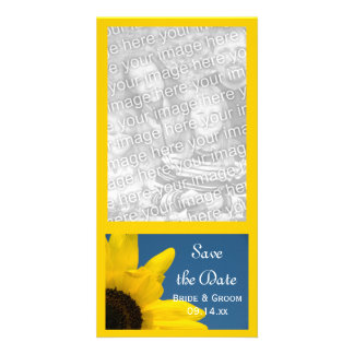 Sunflower and Blue Sky Wedding Save the Date Picture Card