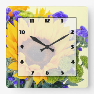 Sunflower and Blue Statice Square Wall Clock