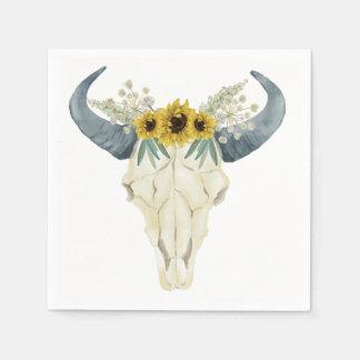 Sunflower and Bull Skull Napkins Disposable Napkin