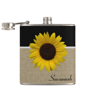 Sunflower and Burlap Hip Flask