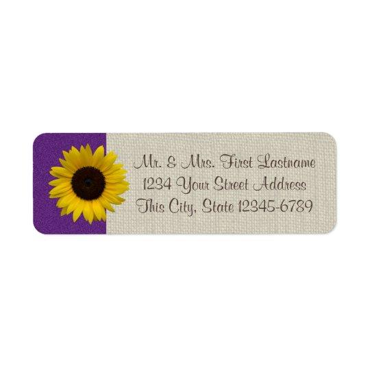 Sunflower and Burlap Purple Return Address Label