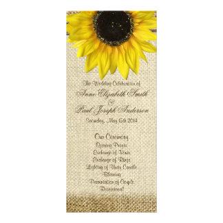 Sunflower and Burlap Wedding Program Rack Card