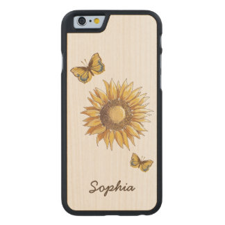 Sunflower and Butterflies Vintage Custom Name Carved® Maple iPhone 6 Case