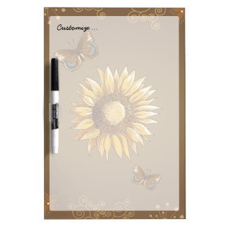Sunflower and Butterflies Vintage Elegant Dry Erase Whiteboards