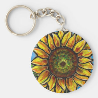 Sunflower and Butterfly Art--stained glass style! Basic Round Button Key Ring