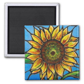 Sunflower and Butterfly Art--stained glass style! Magnet