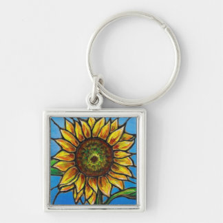 Sunflower and Butterfly Art--stained glass style! Silver-Colored Square Key Ring