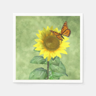 Sunflower and Butterfly Disposable Napkin