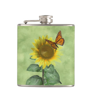 Sunflower and Butterfly Hip Flask