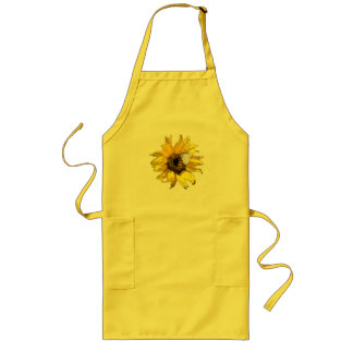 Sunflower and butterfly long apron