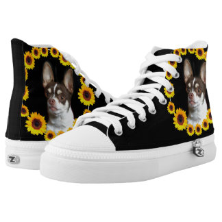Sunflower and chihuahuas high top tennis shoes