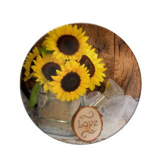 Sunflower and Garden Watering Can Wedding Keepsake Porcelain Plates