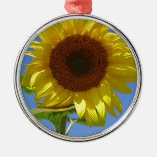 Sunflower and Honey Bee Silver-Colored Round Decoration