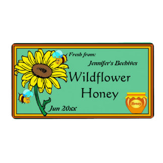 Sunflower and Honey Pot Shipping Label