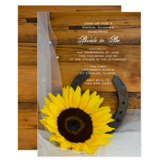 Sunflower and Horseshoe Country Bridal Shower 13 Cm X 18 Cm Invitation Card