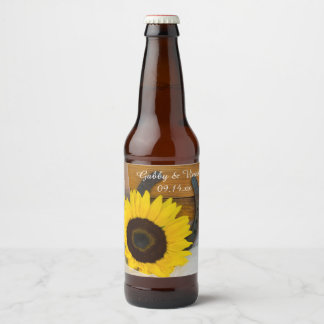 Sunflower and Horseshoe Country Western Wedding Beer Bottle Label
