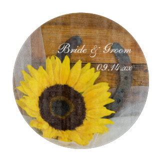 Sunflower and Horseshoe Country Western Wedding Cutting Board