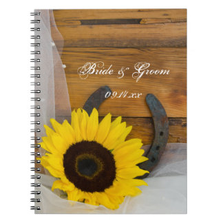 Sunflower and Horseshoe Country Western Wedding Notebook