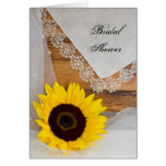 Sunflower and Lace Country Bridal Shower Invite Greeting Card